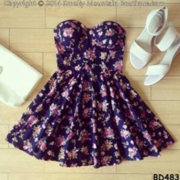 Claire Floral Bustier Dress with Adjustable Straps - Size XS/S/M BD 483 - Smoky Mountain Boutique
