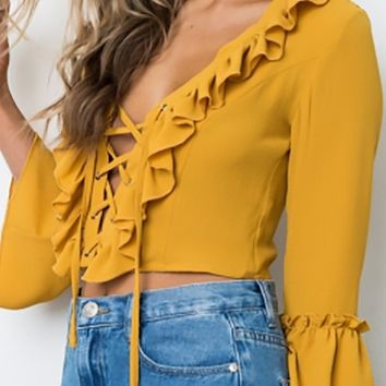 Pick Me Up Yellow Long Bell Sleeve Ruffle Lace Front V Neck Blouse Top