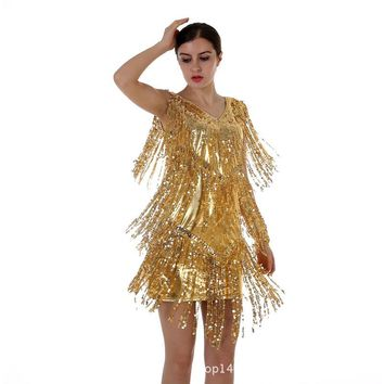Hot New 2016 European Style Fashion Sexy V-Neck Dress Fringed Sequined Dancing Tassels Sexy Nightclub Mini Outlet Women's Dress