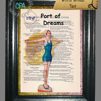 October Port of Dreams Blue Swimsuit Pin-Up Girl with a Yellow Beach Towel - Vintage Dictionary Page Art Print Upcycled Page Print