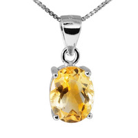 Fine Citrine Necklace,Citrine Pendant Necklace,Citrine Sterling Silver Necklace,November Birthstone Gift,Bride Gift,Citrine Gemstone Jewelry