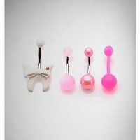 14 Gauge White Bow Pink Ball Banana Set - Spencer's