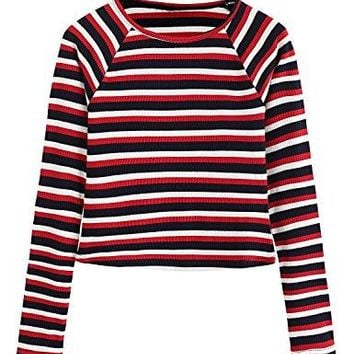 Milumia Womens Casual Striped Ribbed Tee Knit Crop Top