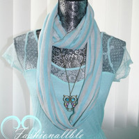 Tiffany Blue Striped Infinity Scarf