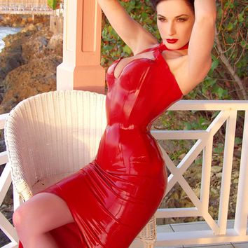 HOUSE OF HARLOT   DITA Latex Rubber Halter Neck Gown With Integral Corset