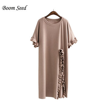 Boom Seed New Women Tops Sexy Plus Size Pleating Butterfly Sleeve Lace Solid Summer Breathable Loose Female Slits Shirt Tees