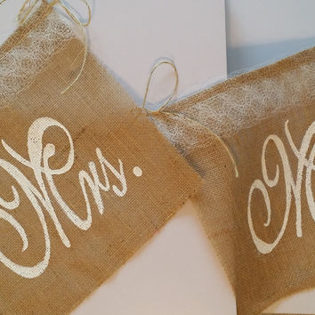 Wedding Chair Backdrop Banner Set: Mr. and Mrs. Rustic Burlap Sign