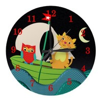 The Owl And The Pussy Cat Cute Kids Clock from Zazzle.com