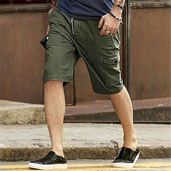 men s khaki cargo shorts casual short pants men s multi pocket tooling shorts men cotton knee length