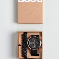 ASOS Gift Set With Oversized Watch And Bracelets In Black And Rose Gold at asos.com