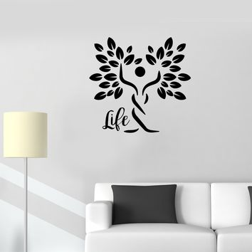 Wall Decal Life Nature Man Silhouette Tree Symbol Vinyl Sticker (ed1147)