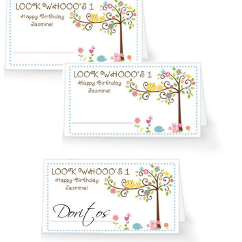 Happi Tree Owl Birthday Party Table Tent Place Cards