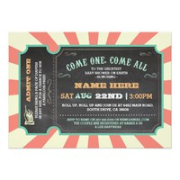 Circus Carnival Ticket Baby Shower Invitation