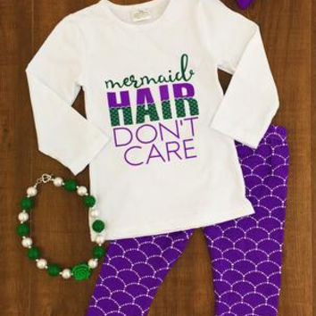 "PURPLE & GREEN ""MERMAID HAIR DON'T CARE"" BOUTIQUE SET"