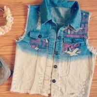 Hip Girl - Cute Two Tone Denim Vest - Size: 6/8 Small/Medium - Smoky Mountain Boutique