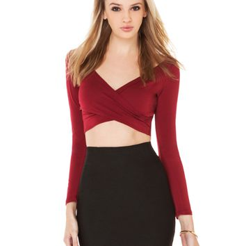 Cross Front Long Sleeve Crop Tank Top