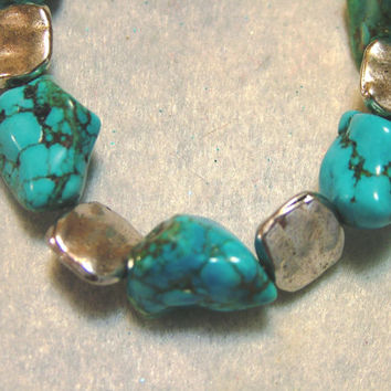 Turquoise Magnesite Nugget Bracelet with Silver Plated Accent Beads, Jewelry, Handmade, Cowgirl