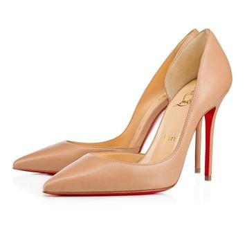 Christian Louboutin Cl Iriza Nude Leather 100mm Stiletto Heel 13w