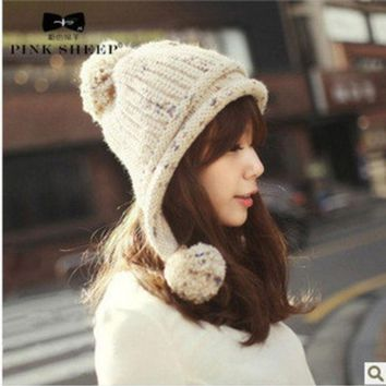 PEAPUNT 2016 Real Direct Selling Solid Adult Casual Mask Hats For Women Sphere Knitted Hat Women's Autumn And Winter Ear Protector Cap