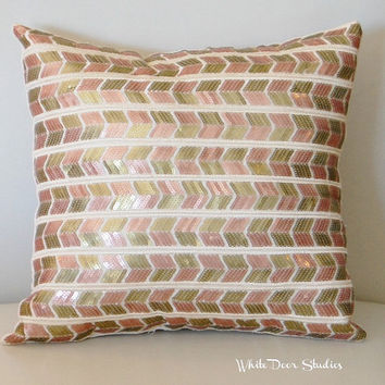 Chevron Sequin Pillow - Copper / Gold, Hand Sewn Decorative Sequin Throw, Bedroom, Living Room, Teen, Girls Room