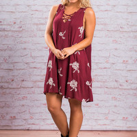Botanical Euphoria Dress, Maroon
