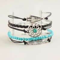Silver, Black and Turquoise Layer Bracelet