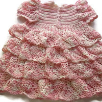 Crochet Baby Dress - Infant - preemie - Newborn - Reborn Doll Clothes - Dress Variegated White and Pink
