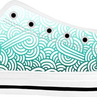 Gradient turquoise blue and white swirls doodles White Low Tops
