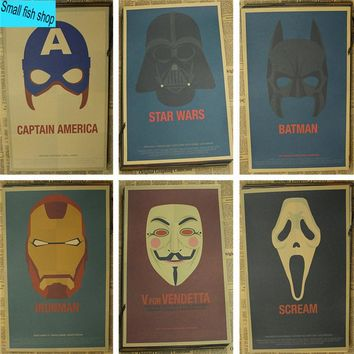 Captain America Vader Film character mask poster Home Furnishing decoration Kraft Movie retro Poster Drawing core Wall stickers