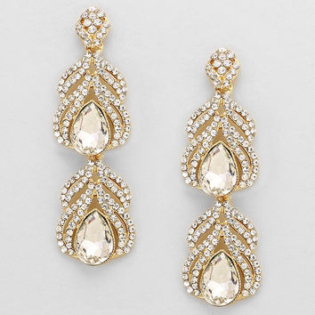 Evening Double Drop Crystal Earrings CLEAR GOLD