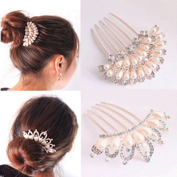 LNRRABC New Flower Crystal Rhinestones Pearls Women Bridal Wedding Hairpin Pearl Hair Pin Accessories For Party Hair Comb