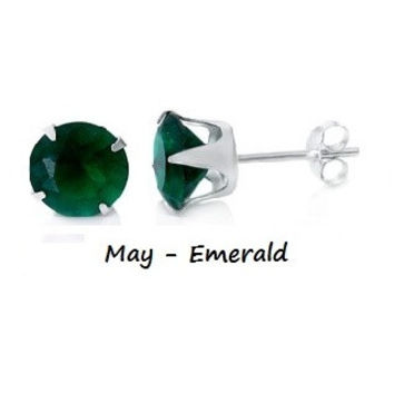.925 Sterling Silver Brilliant Round Cut Green Emerald CZ Stud Earrings in 2mm-10mm