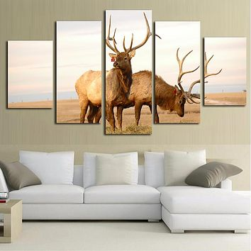 Canvas Painting Wall Art Pictures For Living Room Decorative Frame 5 Panel Modern HD Printed Prairie Animal Deers Poster PENGDA
