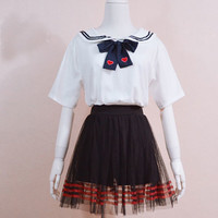 White sailor collar T shirt with blue bow tie