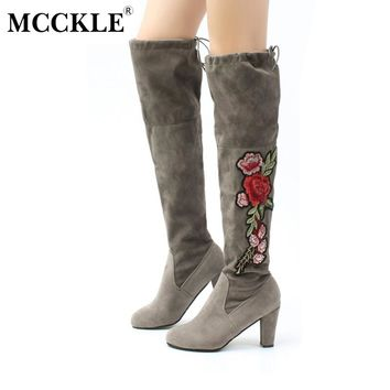 MCCKLE 2017 Female Winter Thigh High Boots Exquisite Embroidery Flower Faux Suede High Heels Over The Knee Shoes Plus Size 34-4