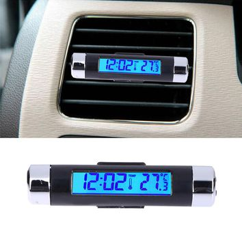 Car LCD Clock Digital Backlight Automobile Thermometer Clock Digital temperature display Calendar Ornament car accessories