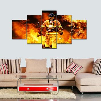 Brave Fireman Went To The Fire Frameless Paintings 5pcs (No frame)Printd on Canvas Arts modern Home Wall Art  HD Print Painting