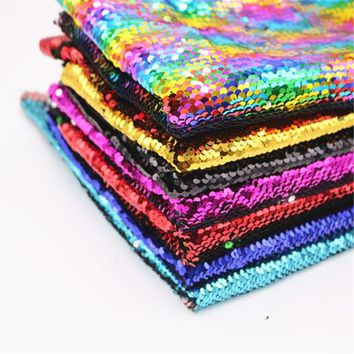 130*91CM 5mm Sequin Fuchsia/White/Gold Reversible Embroidered Mermaid Sequin Fabric for Dresses/Photo Backdrop Wedding Decor