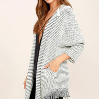 Foggy Coast Black and White Hooded Sweater