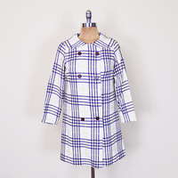 White Yellow & Navy Blue Plaid Jacket Coat 60s Jacket 60s Mod Jacket 60s Mad Men Jacket Peter Pan Collar Dress Jacket Swing Jacket P XS S