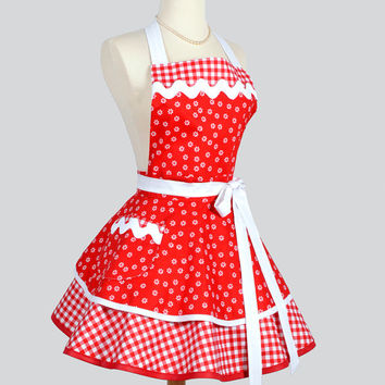 66a6c84d3200 Ruffled Retro Apron - Cute Pinup Womens Apron in Christmas Red a