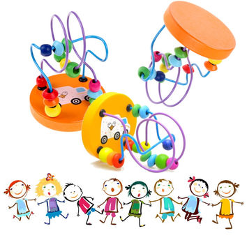 Children Kids Baby Colorful Wooden Mini Around Beads Educational Toy Kids Toys Game Toys