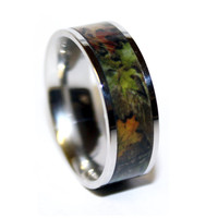 Camo Wedding Ring - Titanium Wedding Band - Camo Ring