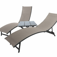 Midtown Lounger 3-Piece Set - Aluminum