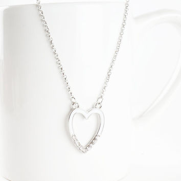 Heart Necklace, Silver Heart Necklace, White Enamel and Crystal Heart Necklace, Valentine's Gift Idea, Heart Jewelry