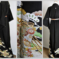 ONLY 1 Left Nobility Japanese Silk Kimono Robe Black Art Deco Asian Gown Mother of the bride