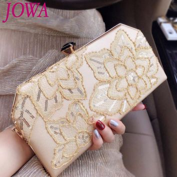 2017 New Design Women's Fashion Evening Bag Vintage Embroidery Handbag Night Gold Purse Wedding Party Bride Clutch Chain Package