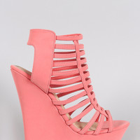 Bamboo Nubuck Strappy Ladder Open Toe Platform Wedge