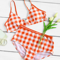 Gingham Print High Waist Bikini Set -SheIn(Sheinside)