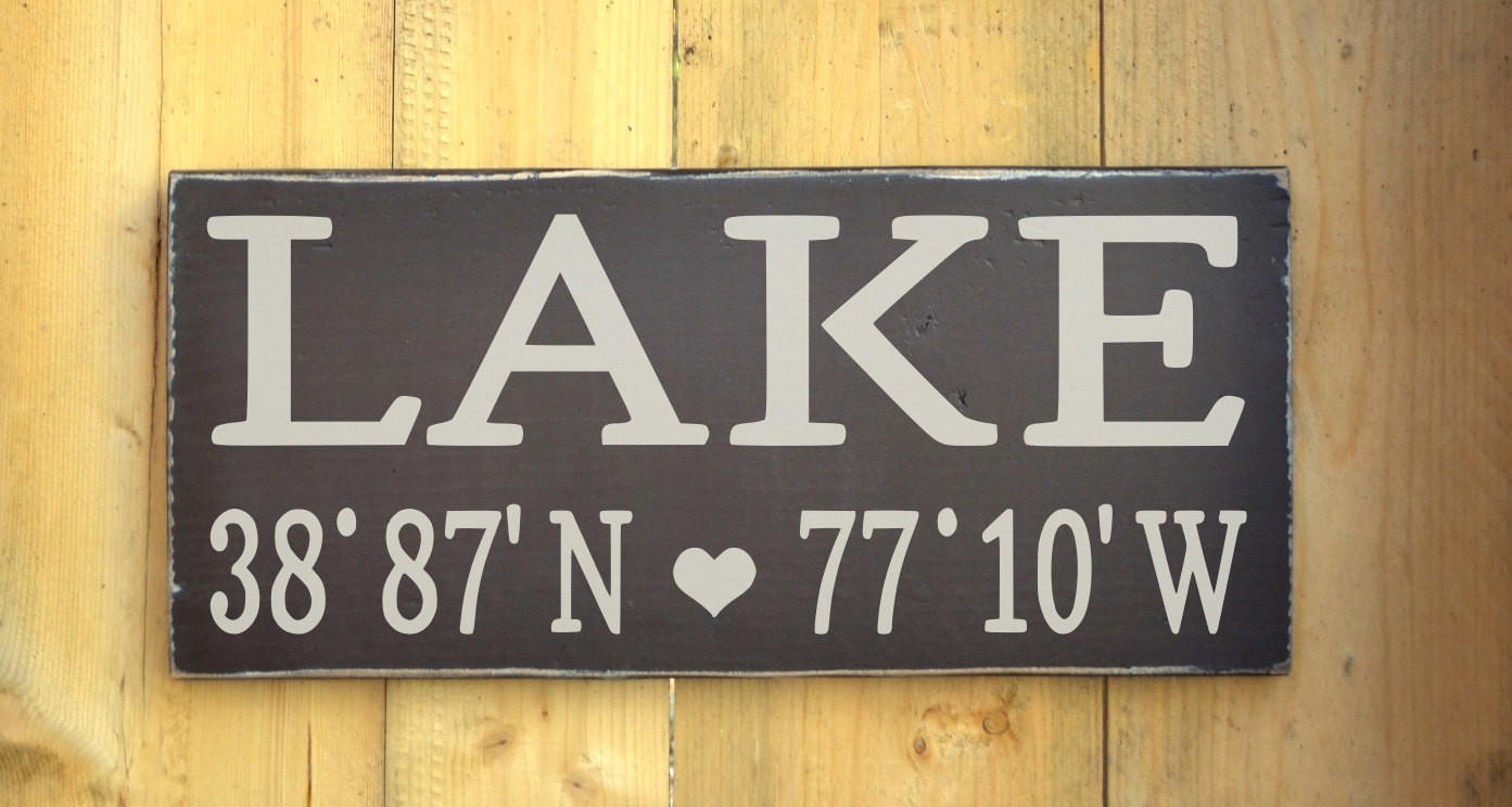 Wall Decor For Lake House : Lake house decor wall art latitude from soflco